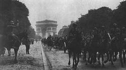 Versailles revenged! German troops parade through the Arc de Triomphe after the fall of Paris on the 14th June 1940.
