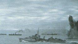 A convoy battle rages in the Atlantic against one of the 'Wolfpacks'.