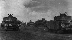Tanks of the Das Reich SS Panzer Division assemble ready to advance during the battle of Kursk.