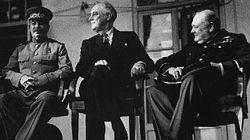'The Big Three', Stalin, Roosevelt and Churchill discuss the future conduct of the war at Teheran in November 1943.